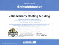 John Moriarty Roofing and Siding Certificate